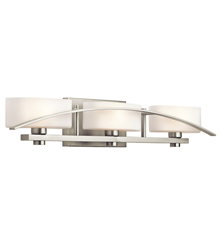 Kichler 45317ni suspension 3 light 30 inch brushed nickel - 8 light bathroom fixture brushed nickel ...