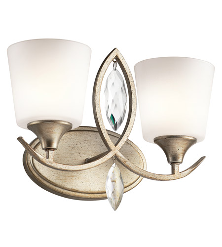 Kichler 45371sgd casilda 2 light 15 inch sterling gold for Gold bathroom wall lights