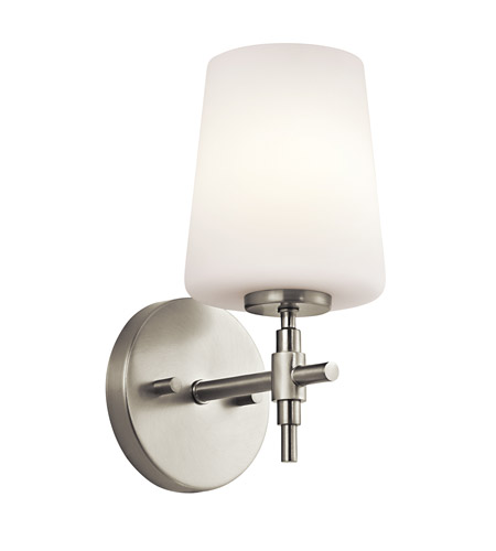 Kichler Lighting Builder Arvella 1 Light Wall Sconce in Brushed Nickel 45385NI