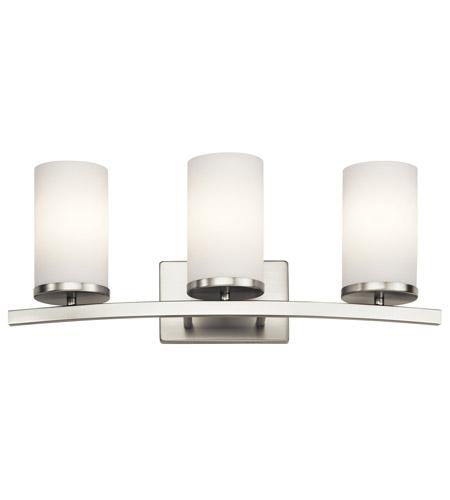 kichler 45497ni crosby 3 light 23 inch brushed nickel vanity light wall light