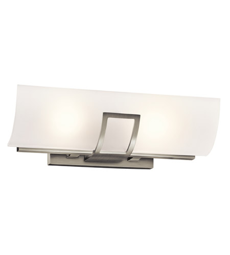 linear bathroom lighting kichler tryloni 2 light linear bath light in brushed 13501