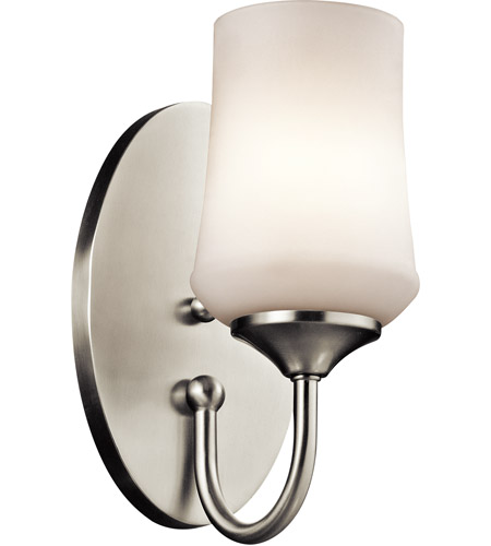 Kichler 45568ni Aubrey 1 Light 6 Inch Brushed Nickel Wall Bracket Wall Light In Incandescent