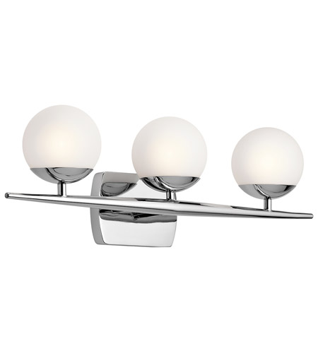 kichler 45582ch jasper 3 light 25 inch chrome bath light wall light