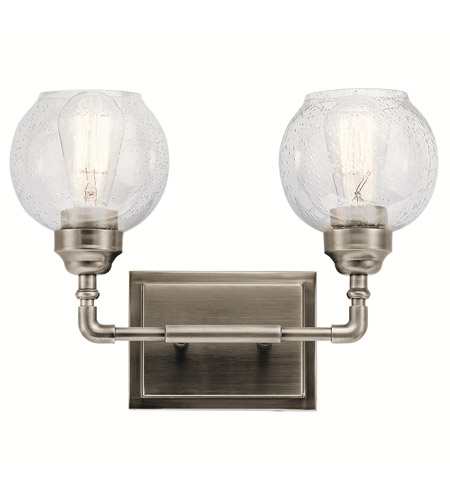 kichler bathroom light fixtures kichler 45591ap niles 2 light 15 inch antique pewter 18958
