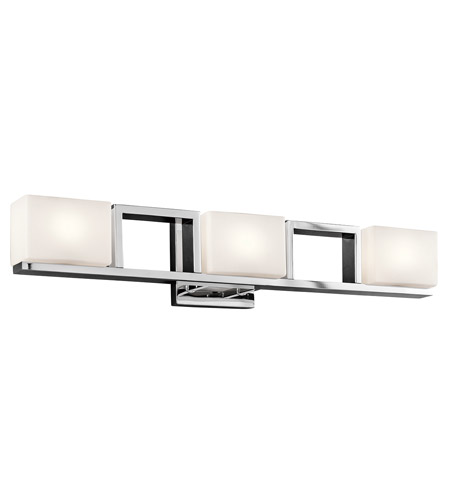 kichler 45603ch keo 3 light 28 inch chrome bath light wall light