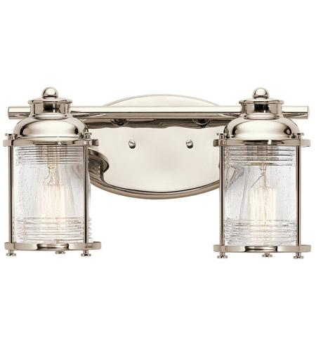 Kichler Ashland Bay Outdoor Pedestal Lantern Weathered: Kichler 45771PN Ashland Bay 2 Light 14 Inch Polished