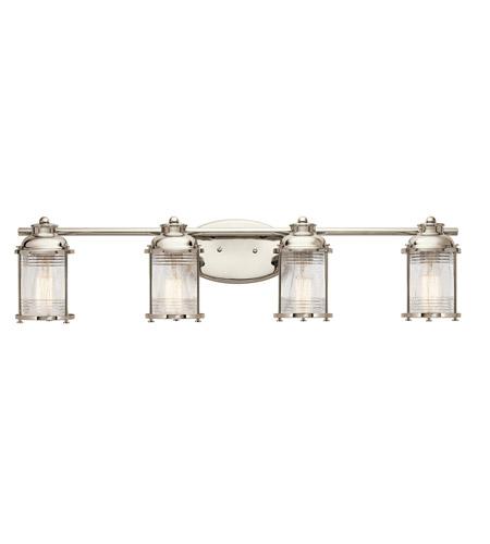 Kichler Ashland Bay Outdoor Pedestal Lantern Weathered: Kichler 45773PN Ashland Bay 4 Light 34 Inch Polished