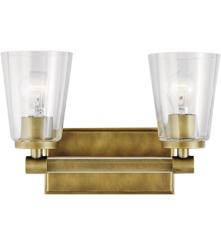 outlet store 907df f28d6 Audrea 2 Light 14 inch Natural Brass Vanity Light Wall Light, 2 Arm