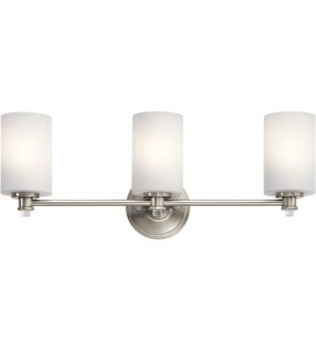 Dimmable Led Bathroom Wall Lights : Kichler 45923NIL16 Joelson 3 Light 24 inch Brushed Nickel Vanity Light Wall Light in LED, Dimmable