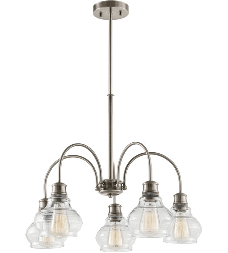 Kichler 48100CLP Schoolhouse 5 Light 26 inch Classic Pewter Chandelier Ceiling Light, Medium photo