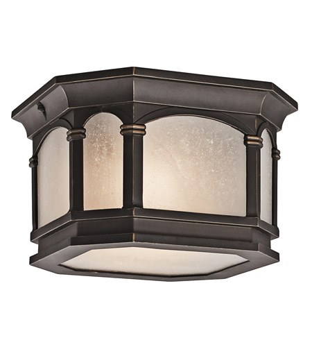 Kichler Lighting Nob Hill 2 Light Outdoor Flush Mount in Rubbed Bronze 49035RZ photo