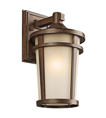 Kichler 49072bst atwood 1 light 14 inch brown stone outdoor wall lantern in standard
