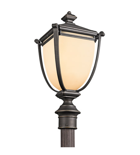 Kichler Lighting Warner Park 1 Light Outdoor Post Lantern in Rubbed Bronze 49104RZ photo
