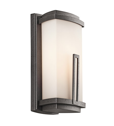 Kichler 49110AVI Leeds 1 Light 12 inch Anvil Iron Outdoor Wall Lantern in Standard photo