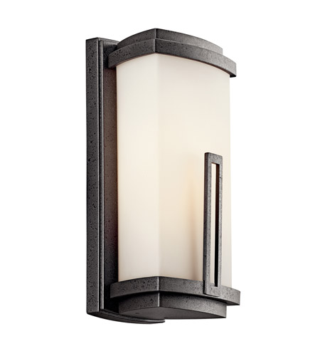 Kichler 49110AVIFL Leeds 1 Light 12 inch Anvil Iron Fluorescent Outdoor Wall Lantern photo