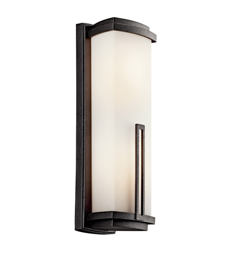 Kichler Lighting Leeds 2 Light Fluorescent Outdoor Wall Lantern in Anvil Iron 49111AVIFL photo