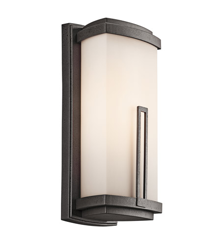 Kichler Lighting Leeds 1 Light Outdoor Wall Lantern in Anvil Iron 49112AVI
