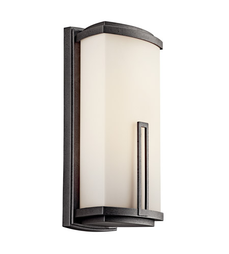 Kichler Lighting Leeds 2 Light Fluorescent Outdoor Wall Lantern in Anvil Iron 49113AVIFL photo