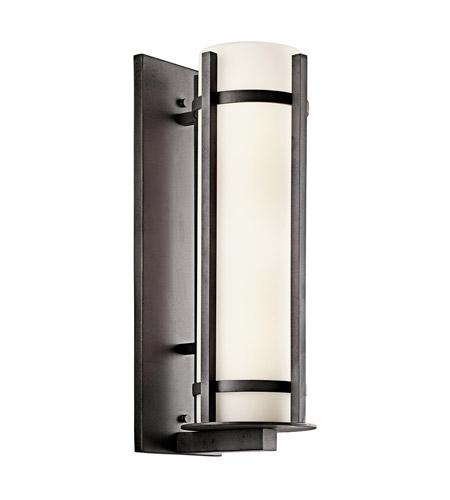 Kichler Lighting Camden 2 Light Fluorescent Outdoor Wall Lantern in Anvil Iron 49121AVIFL photo