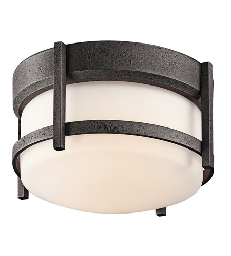 Kichler 49125AVI Camden 1 Light 10 inch Anvil Iron Outdoor Flush Mount in Standard photo