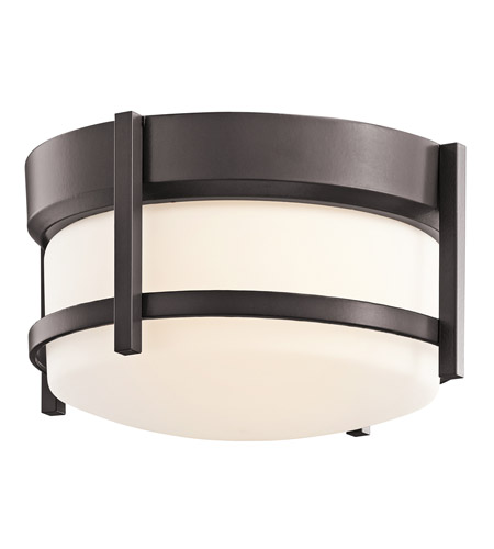 Kichler Lighting Tiverton 1 Light Outdoor Flush Mount in Architectural Bronze 49125AZ