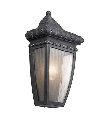 Kichler Lighting Venetian Rain 1 Light Outdoor Wall Lantern in Black W/Gold 49130BKG