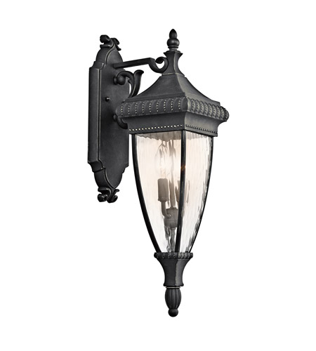 Kichler Lighting Venetian Rain 2 Light Outdoor Wall Lantern in Black W/Gold 49131BKG