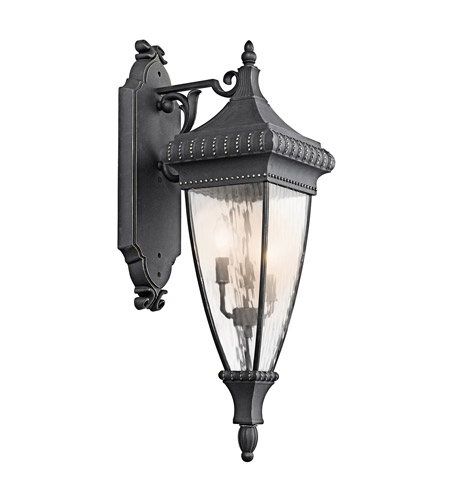 Kichler Lighting Venetian Rain 3 Light Outdoor Wall Lantern in Black W/Gold 49132BKG