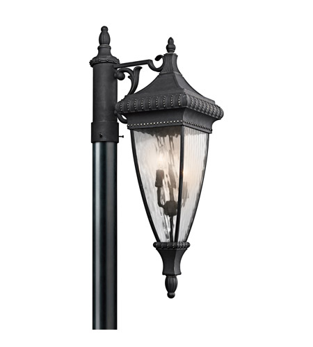 Kichler Lighting Venetian Rain 3 Light Outdoor Post Lantern in Black W/Gold 49133BKG photo