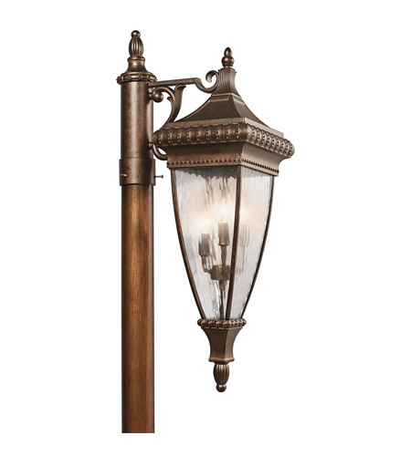 Kichler Lighting Venetian Rain 3 Light Outdoor Post Lantern in Bronze 49133BRZ