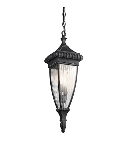 Kichler Lighting Venetian Rain 2 Light Outdoor Pendant in Black W/Gold 49134BKG