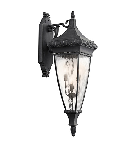 Kichler Lighting Venetian Rain 4 Light Outdoor Wall Lantern in Black W/Gold 49135BKG photo