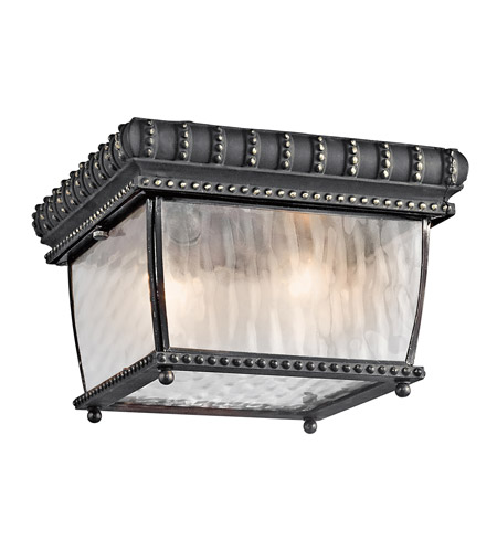Kichler 49136BKG Venetian Rain 2 Light 9 inch Black W/Gold Outdoor Flush Mount photo