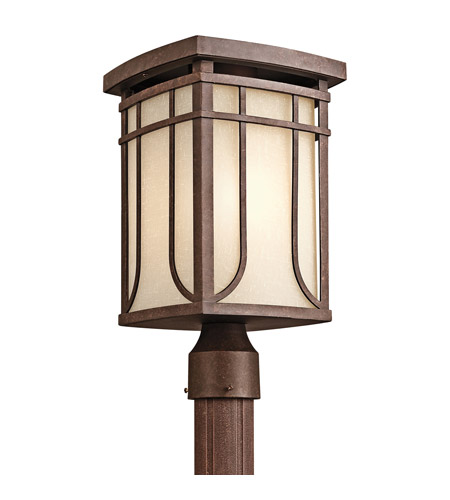Kichler Lighting Riverbank 1 Light Outdoor Post Lantern in Aged Bronze 49150AGZ photo