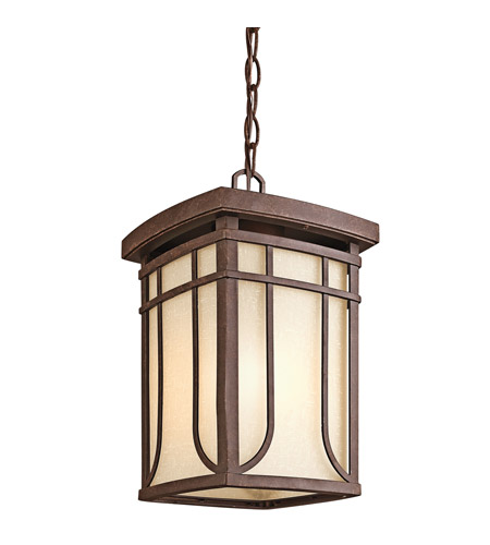 Kichler Lighting Riverbank 1 Light Outdoor Pendant in Aged Bronze 49152AGZ photo