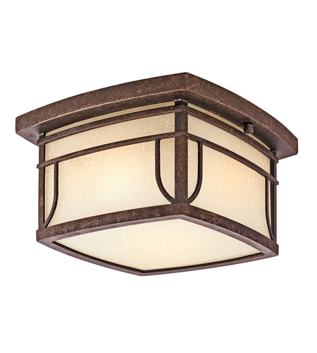 Kichler Lighting Riverbank 2 Light Outdoor Flush Mount in Aged Bronze 49153AGZ photo