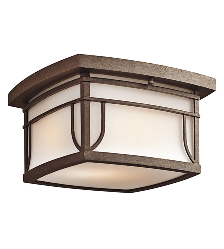 Kichler Lighting Priya 2 Light Outdoor Flush Mount in Aged Bronze 49153AGZS photo