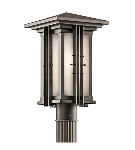 Kichler 49162OZ Portman Square 1 Light 16 inch Olde Bronze Outdoor Post Lantern photo