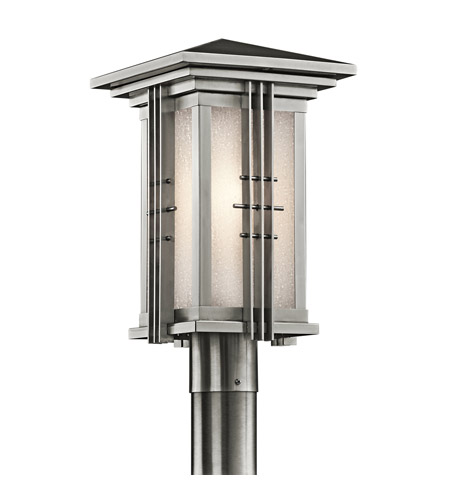 Kichler Lighting Portman Square 1 Light Outdoor Post Lantern in Stainless Steel 49162SS photo