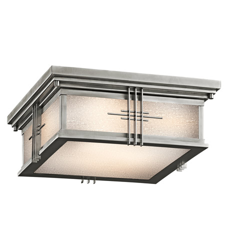 Kichler Lighting Portman Square 2 Light Outdoor Flush Mount in Stainless Steel 49164SS photo