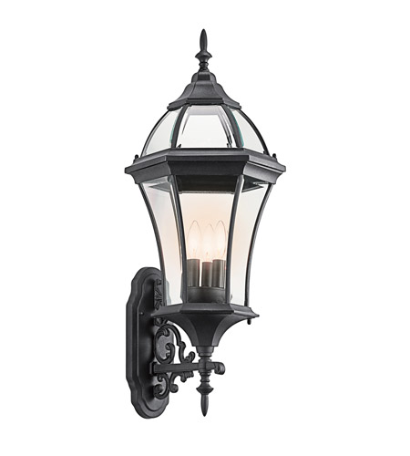 Kichler 49185BK Townhouse 3 Light 32 inch Black Outdoor Wall Lantern photo
