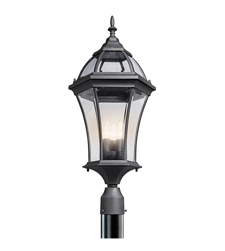 Kichler Lighting Townhouse 3 Light Outdoor Post Lantern in Black (Painted) 49188BK