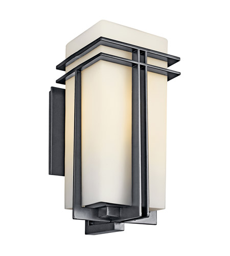 Kichler Lighting Tremillo 1 Light Fluorescent Outdoor Wall Lantern in Black 49203BKFL photo