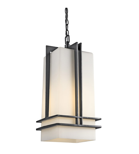 Kichler Lighting Tremillo 1 Light Outdoor Pendant in Black (Painted) 49205BK