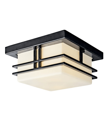 Kichler Lighting Tremillo 2 Light Fluorescent Outdoor Ceiling in Black (Painted) 49206BKFL