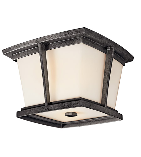 Kichler Lighting Brockton 2 Light Fluorescent Outdoor Ceiling in Anvil Iron 49220AVIFL photo