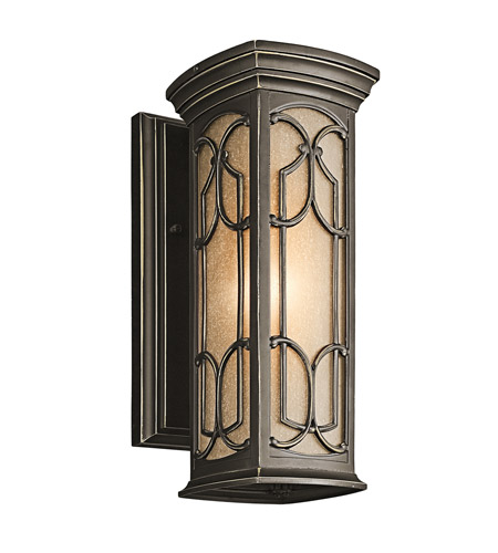 Kichler 49226OZ Franceasi 1 Light 15 inch Olde Bronze Outdoor Wall Lantern in Standard photo