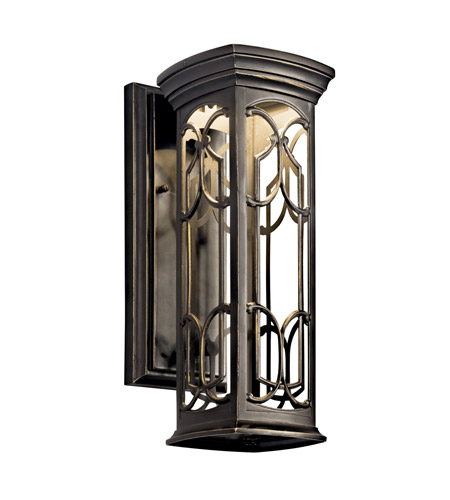Kichler 49226OZLED Franceasi LED 15 inch Olde Bronze LED Outdoor Wall Lantern photo