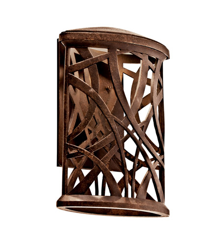Kichler Lighting Maya Palm LED Outdoor Wall Lantern in Aged Bronze 49248AGZLED
