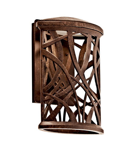Kichler Lighting Maya Palm LED Outdoor Wall Lantern in Aged Bronze 49249AGZLED photo